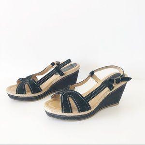 Andrea Black Velvet Platform Wedge Sandals Size 7